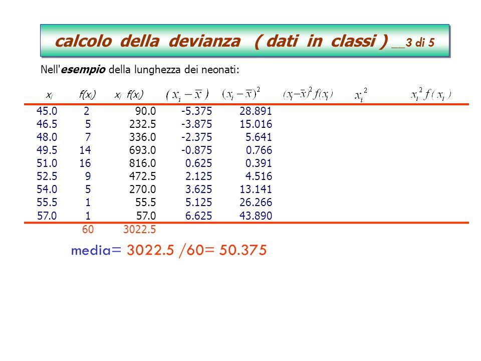 calcolo della devianza ( dati in classi ) __3 di 5