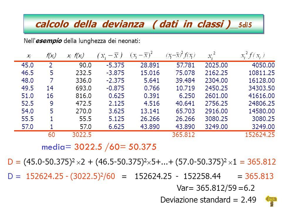 calcolo della devianza ( dati in classi )__5di5