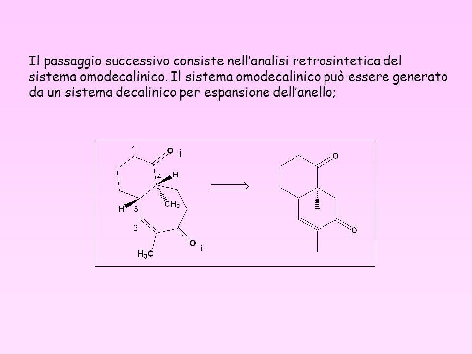 Il passaggio successivo consiste nell'analisi retrosintetica del sistema omodecalinico.