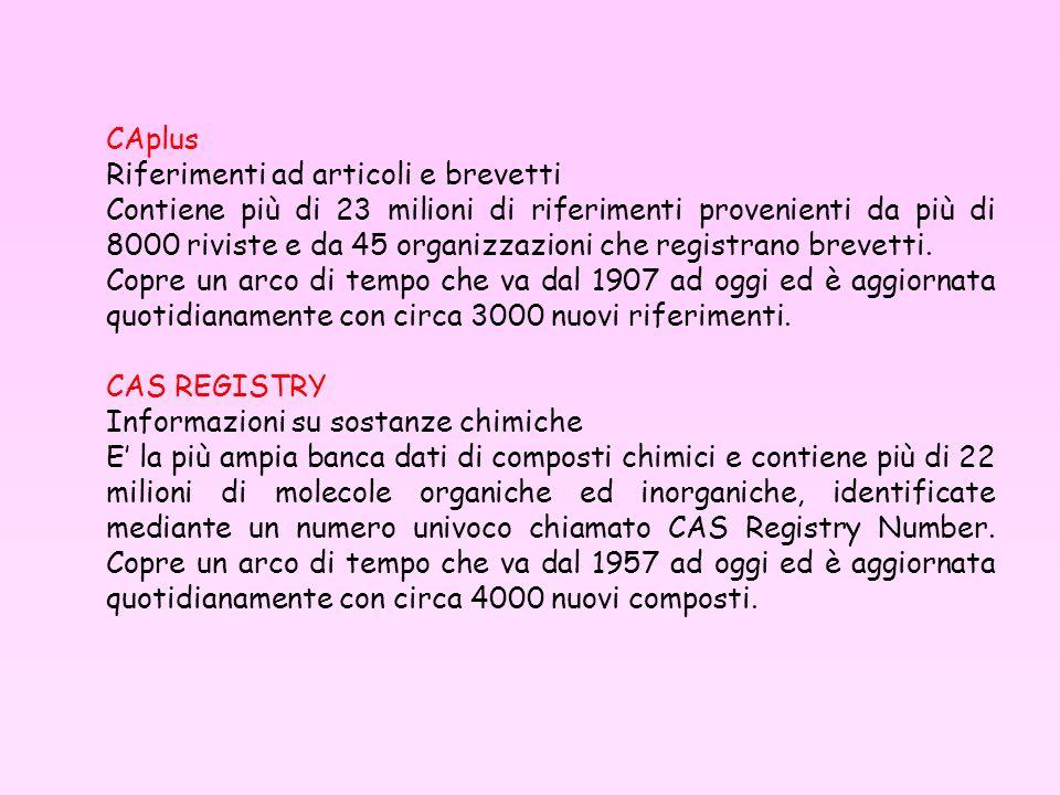 CAplus Riferimenti ad articoli e brevetti.