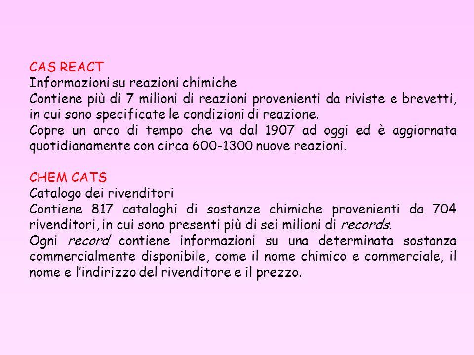 CAS REACT Informazioni su reazioni chimiche.