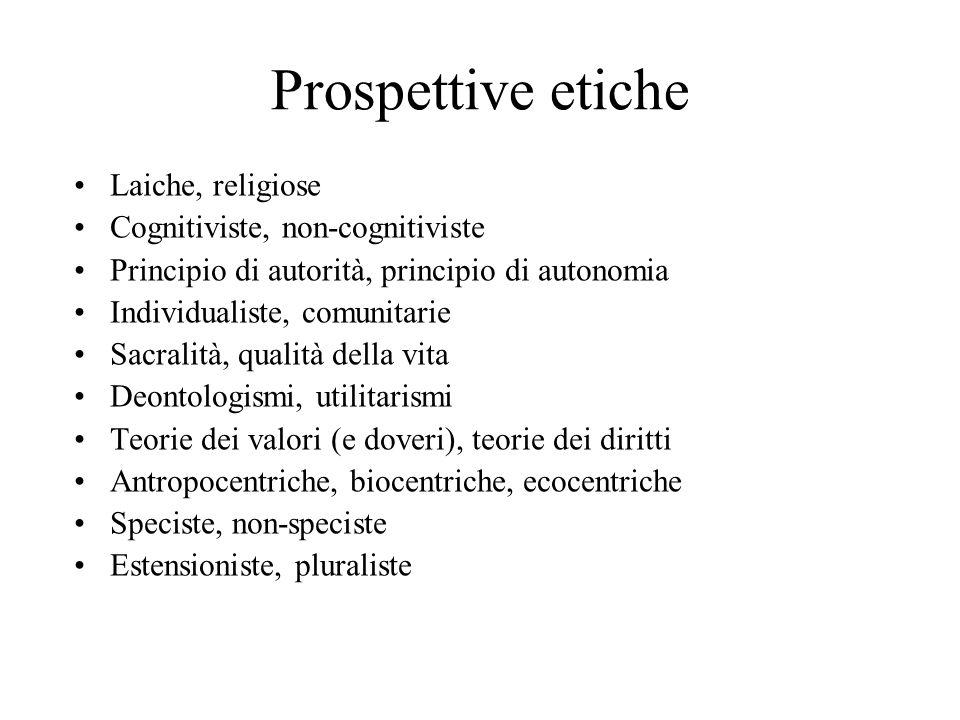 Prospettive etiche Laiche, religiose Cognitiviste, non-cognitiviste