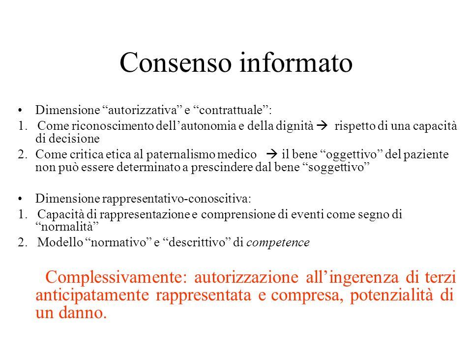 Consenso informato Dimensione autorizzativa e contrattuale :