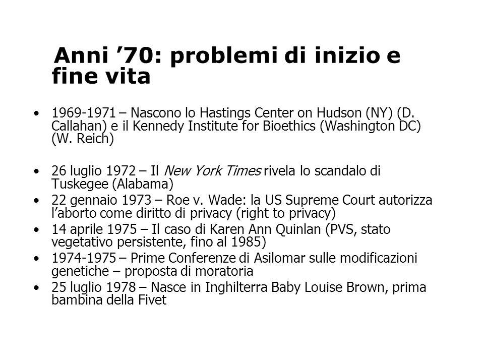 Anni '70: problemi di inizio e fine vita