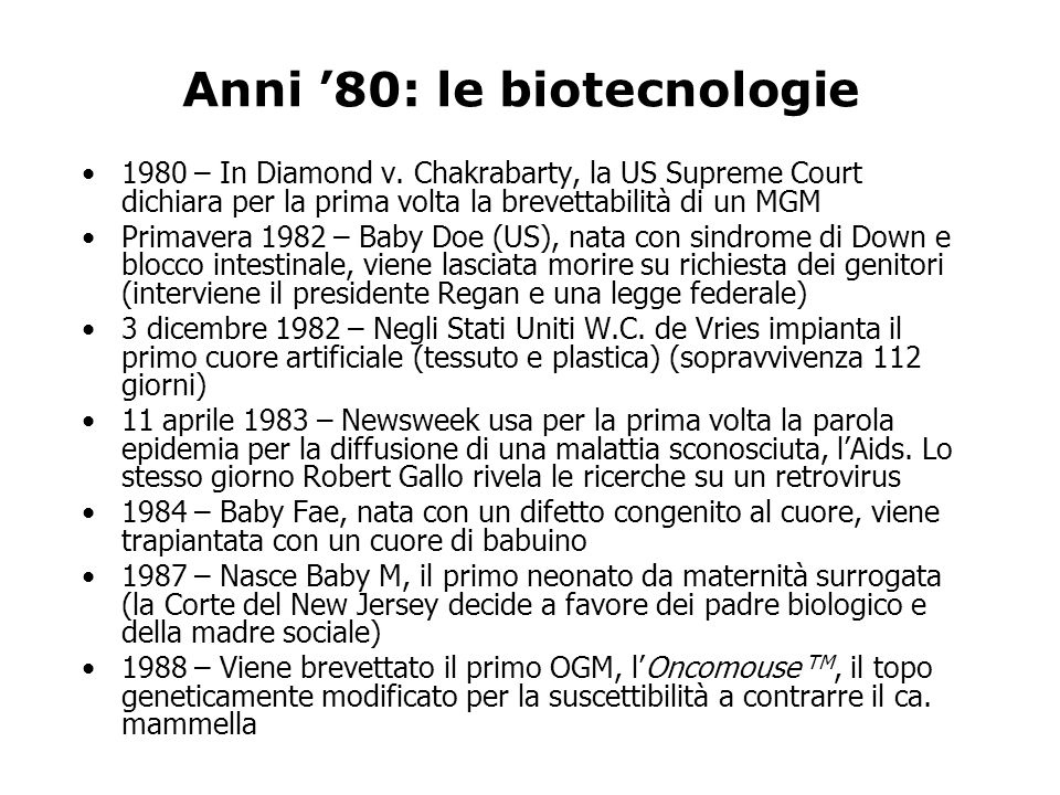 Anni '80: le biotecnologie