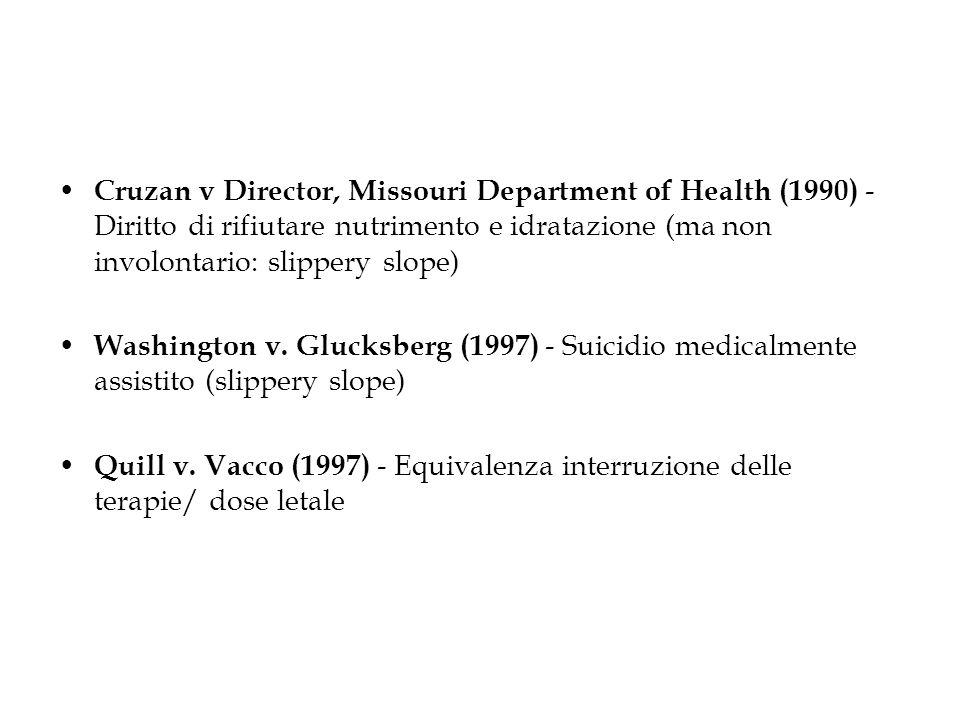 Cruzan v Director, Missouri Department of Health (1990) - Diritto di rifiutare nutrimento e idratazione (ma non involontario: slippery slope)
