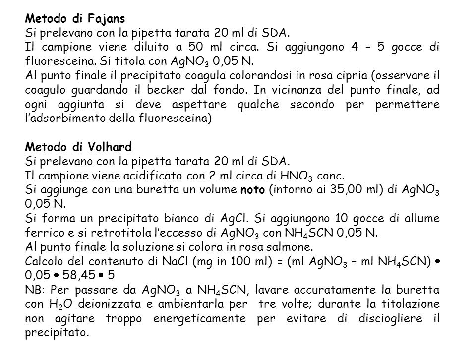 Metodo di Fajans Si prelevano con la pipetta tarata 20 ml di SDA.