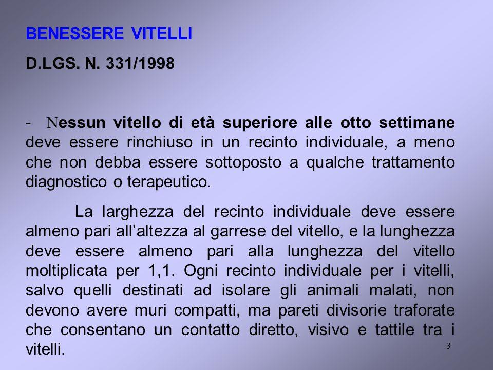 BENESSERE VITELLI D.LGS. N. 331/1998.