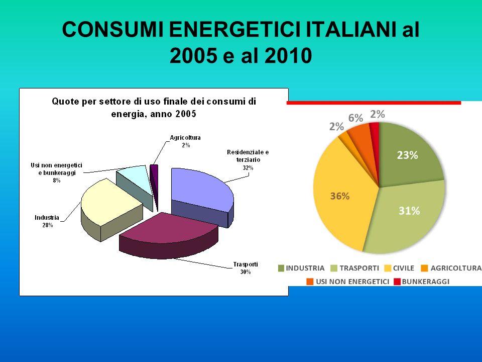 CONSUMI ENERGETICI ITALIANI al 2005 e al 2010