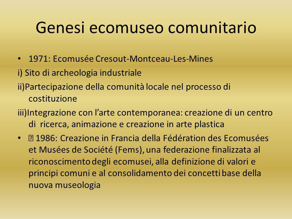 Genesi ecomuseo comunitario
