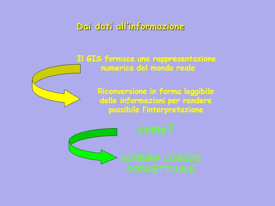 come Dai dati all'informazione SCHEMA LOGICO CONCETTUALE