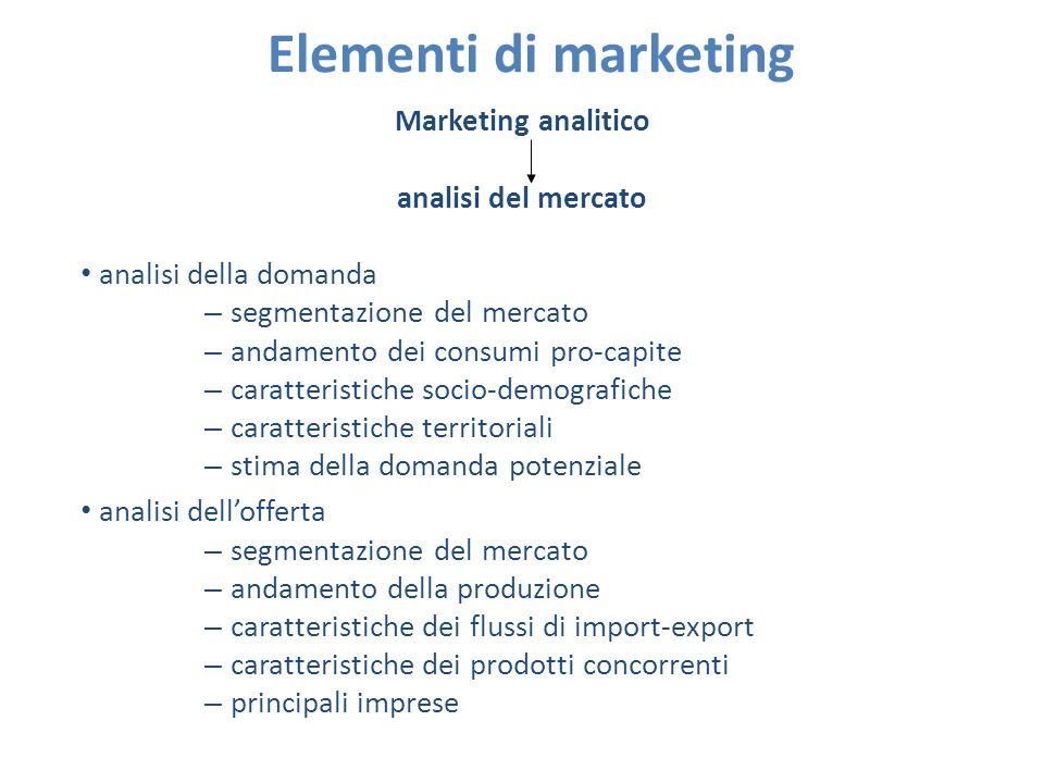 Elementi di marketing Marketing analitico analisi del mercato