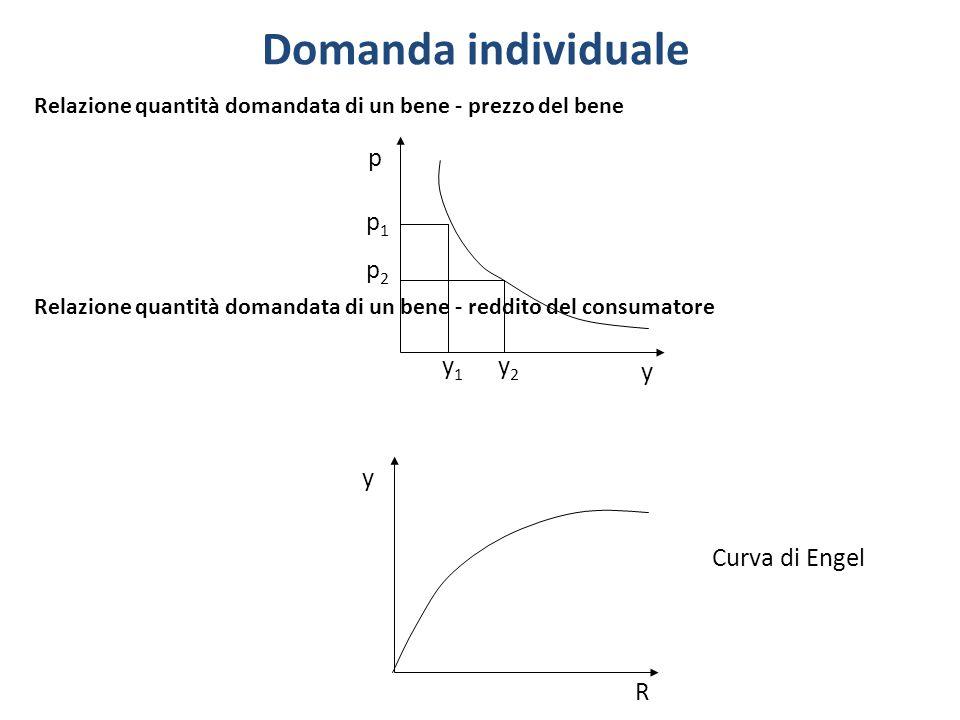 Domanda individuale p p1 p2 y1 y2 y y Curva di Engel R
