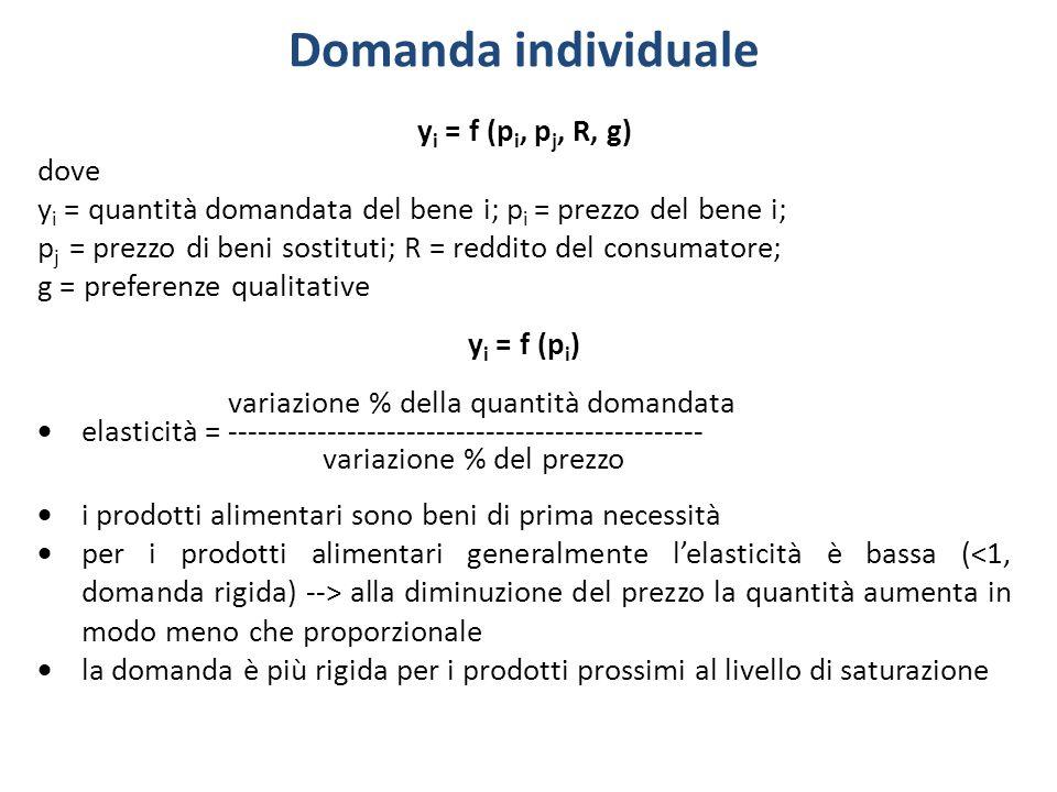 Domanda individuale yi = f (pi, pj, R, g) dove