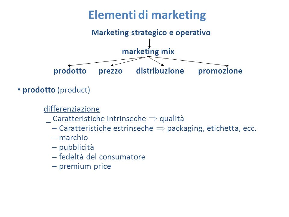 Elementi di marketing Marketing strategico e operativo marketing mix