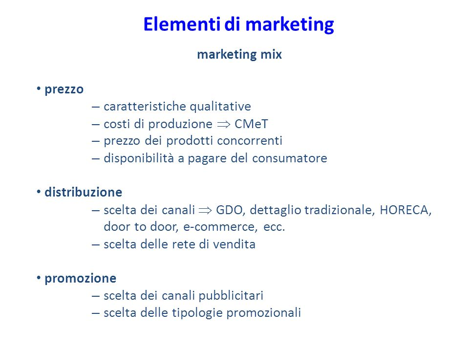 Elementi di marketing marketing mix prezzo caratteristiche qualitative