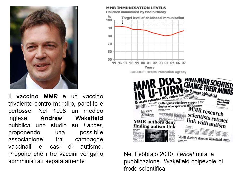 Il vaccino MMR è un vaccino trivalente contro morbillo, parotite e pertosse. Nel 1998 un medico inglese Andrew Wakefield pubblica uno studio su Lancet, proponendo una possibile associazione tra campagne vaccinali e casi di autismo. Propone che i tre vaccini vengano somministrati separatamente