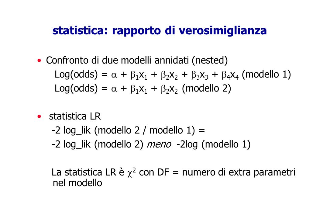 statistica: rapporto di verosimiglianza