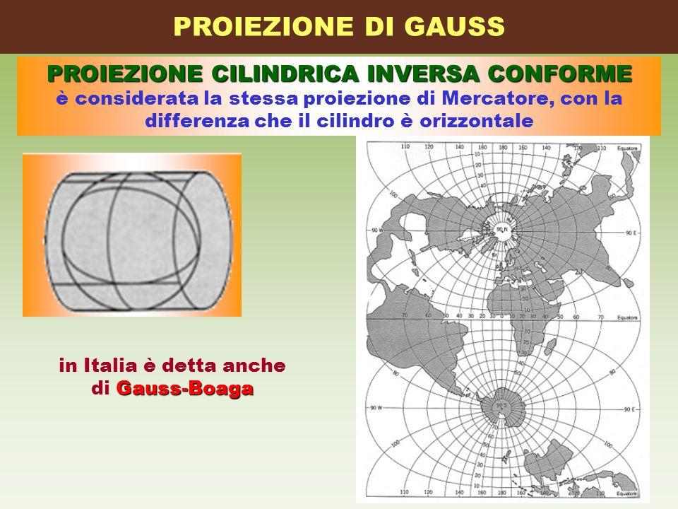PROIEZIONE DI GAUSS PROIEZIONE CILINDRICA INVERSA CONFORME