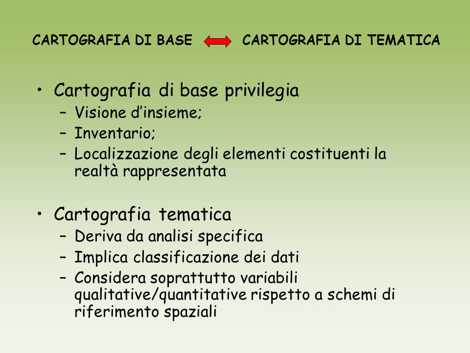 Cartografia di base privilegia