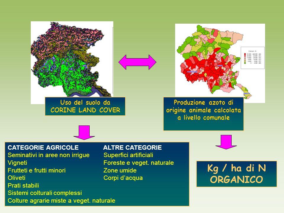 Produzione azoto di origine animale calcolata a livello comunale