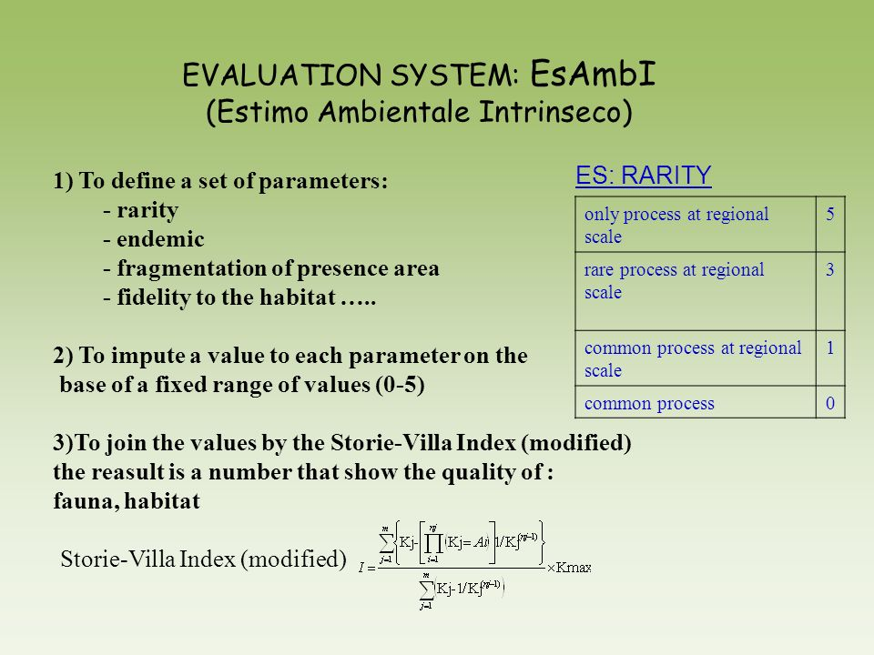 EVALUATION SYSTEM: EsAmbI (Estimo Ambientale Intrinseco)