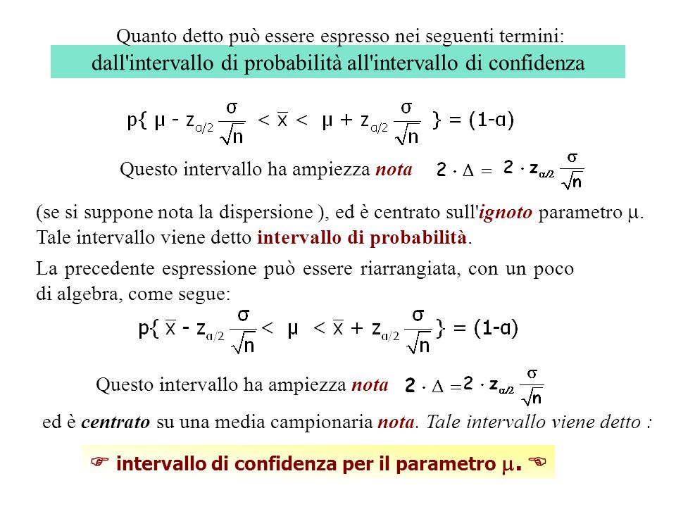 dall intervallo di probabilità all intervallo di confidenza