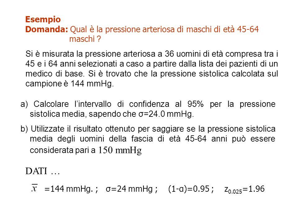 Esempio Domanda: Qual è la pressione arteriosa di maschi di età 45-64 maschi