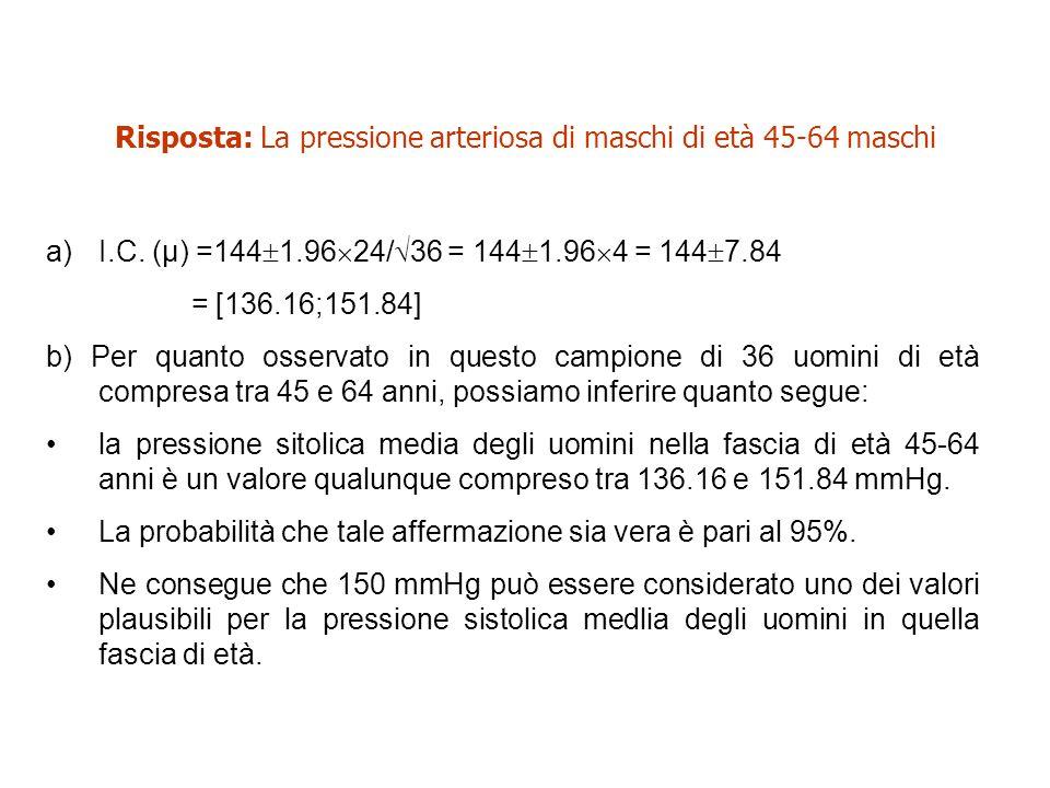 Risposta: La pressione arteriosa di maschi di età 45-64 maschi