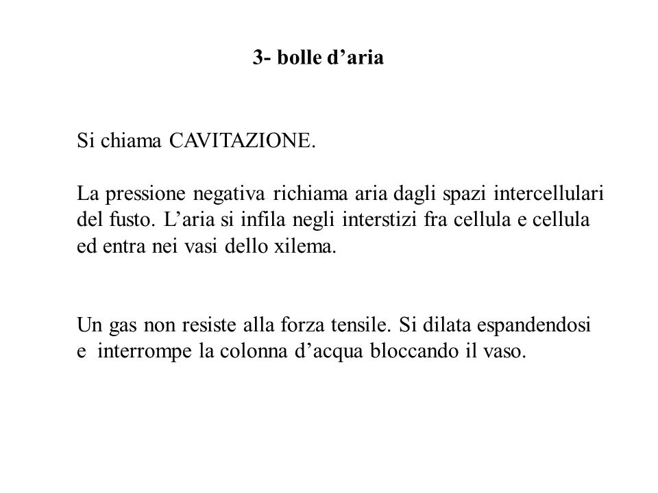 3- bolle d'aria Si chiama CAVITAZIONE. La pressione negativa richiama aria dagli spazi intercellulari.