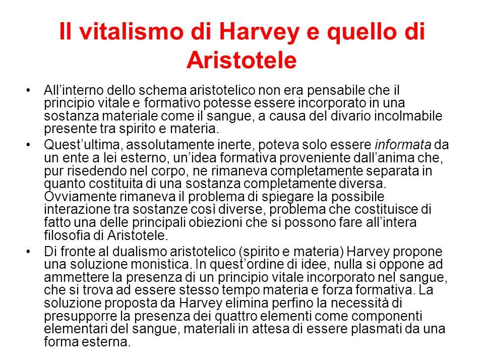 Il vitalismo di Harvey e quello di Aristotele