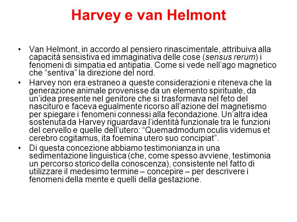 Harvey e van Helmont