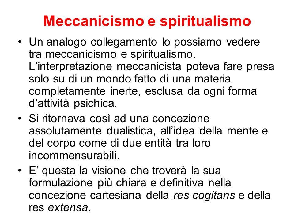 Meccanicismo e spiritualismo