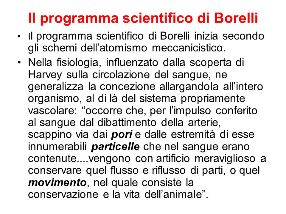 Il programma scientifico di Borelli