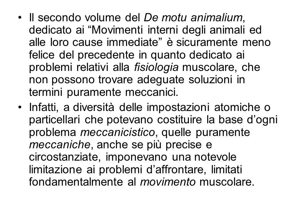 Il secondo volume del De motu animalium, dedicato ai Movimenti interni degli animali ed alle loro cause immediate è sicuramente meno felice del precedente in quanto dedicato ai problemi relativi alla fisiologia muscolare, che non possono trovare adeguate soluzioni in termini puramente meccanici.