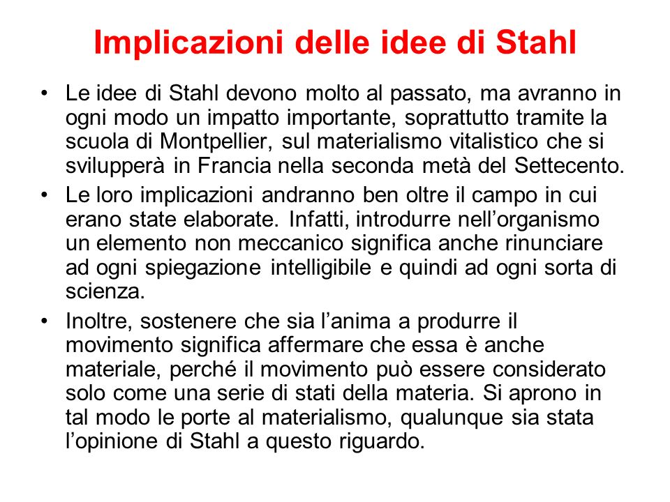 Implicazioni delle idee di Stahl
