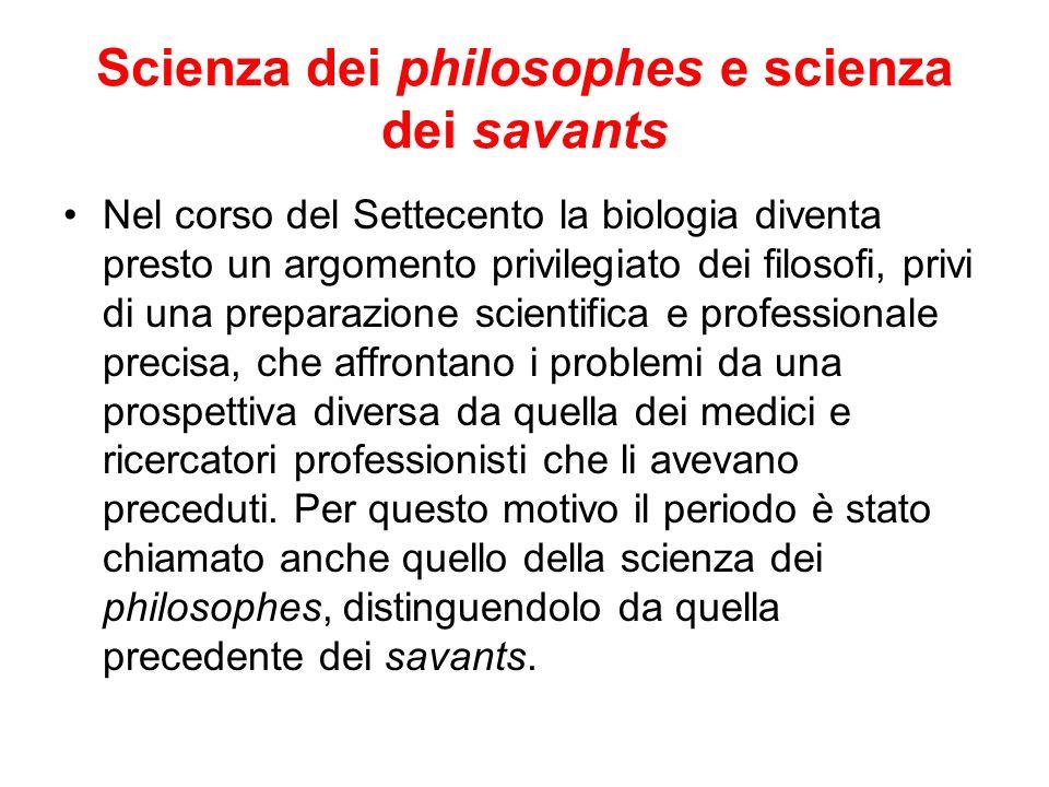 Scienza dei philosophes e scienza dei savants