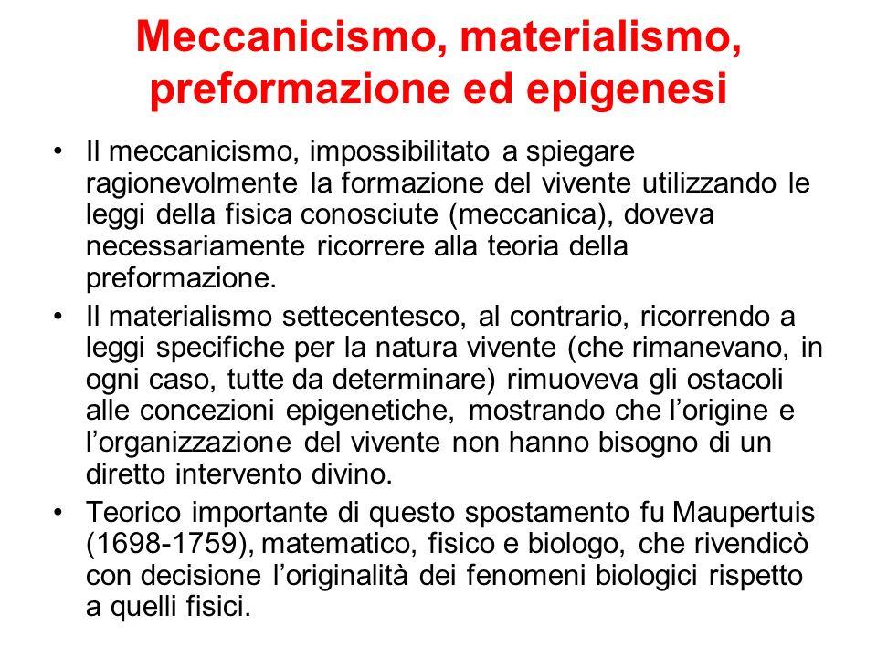 Meccanicismo, materialismo, preformazione ed epigenesi