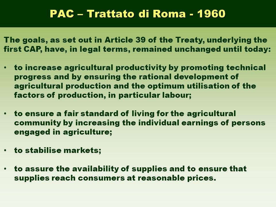 PAC – Trattato di Roma - 1960