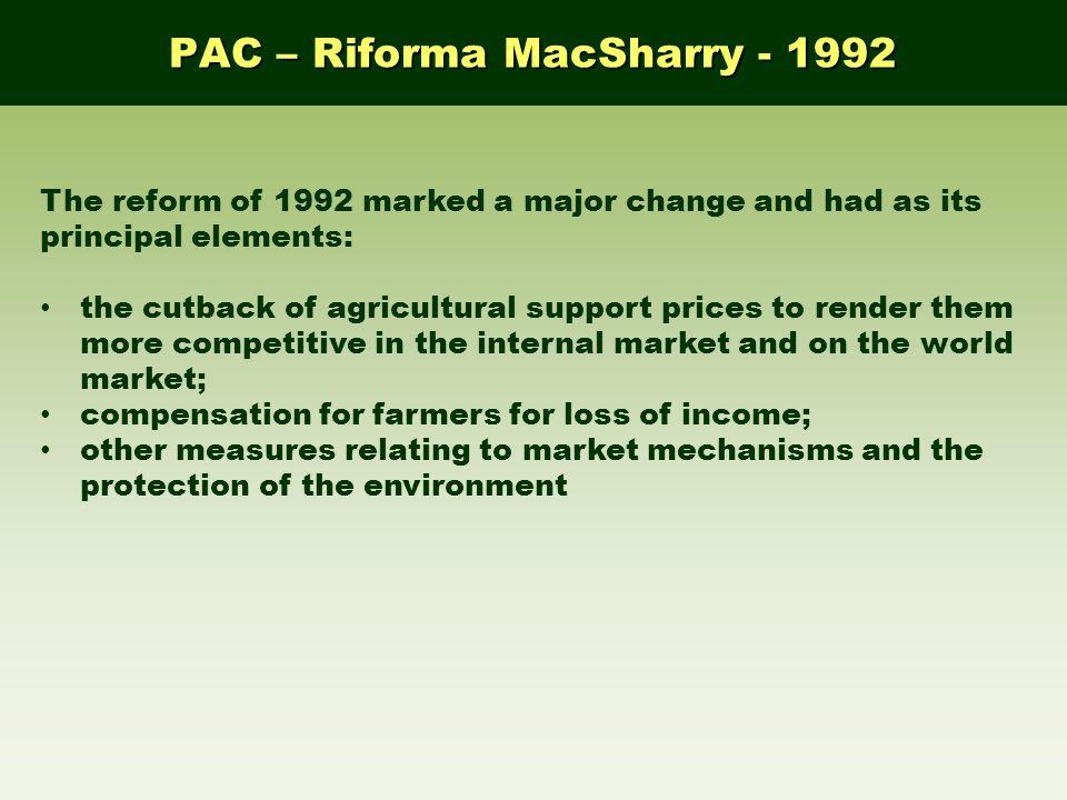 PAC – Riforma MacSharry - 1992