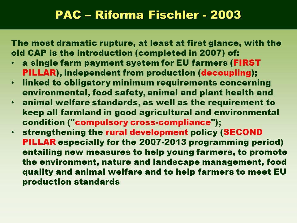 PAC – Riforma Fischler - 2003