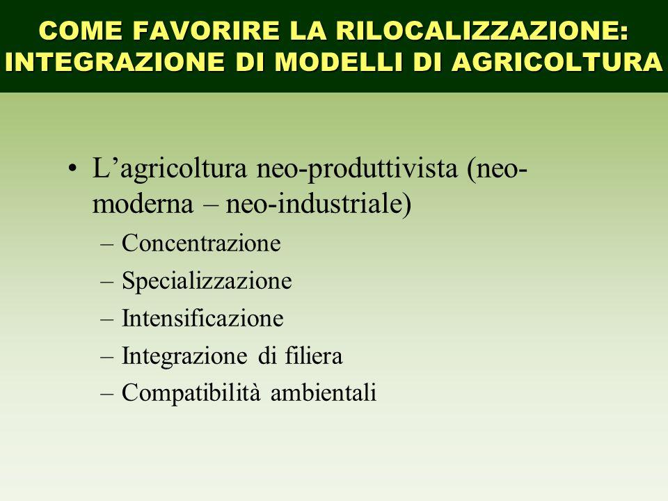 L'agricoltura neo-produttivista (neo- moderna – neo-industriale)