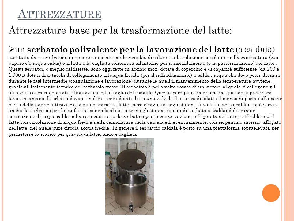 Attrezzature Attrezzature base per la trasformazione del latte:
