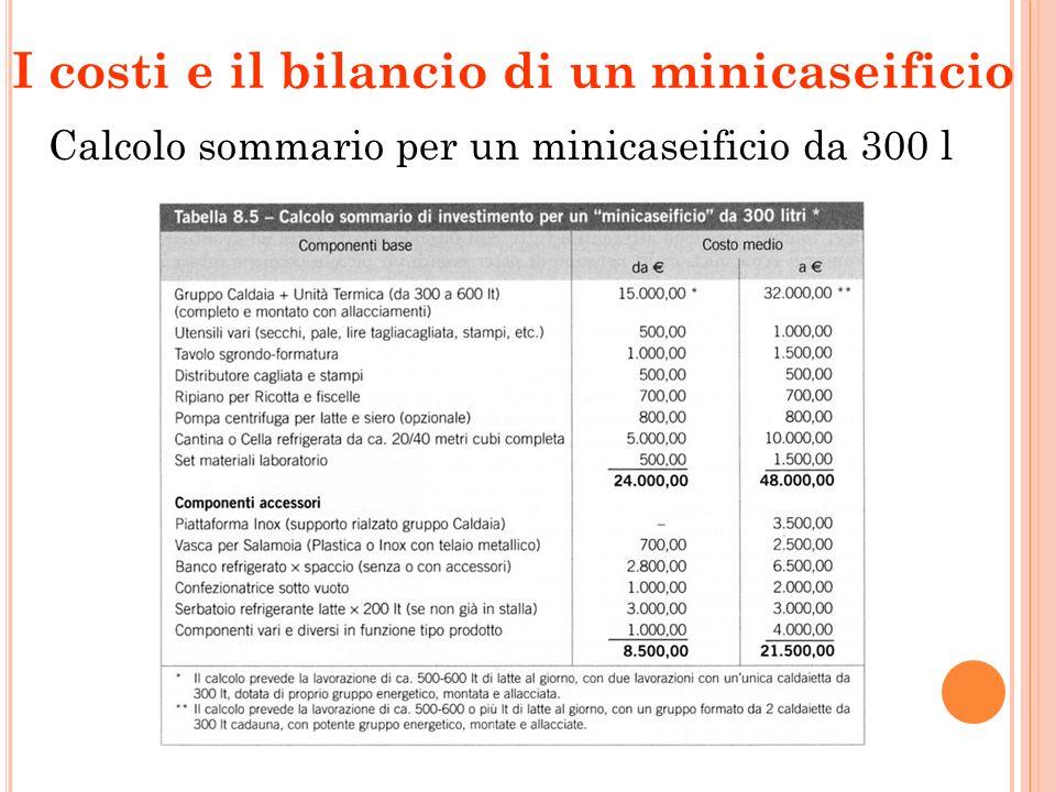 I costi e il bilancio di un minicaseificio