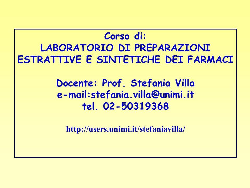 LABORATORIO DI PREPARAZIONI ESTRATTIVE E SINTETICHE DEI FARMACI