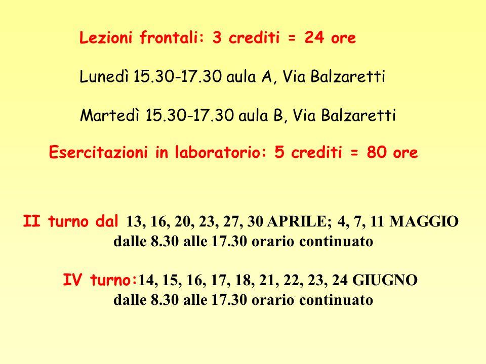 Lezioni frontali: 3 crediti = 24 ore
