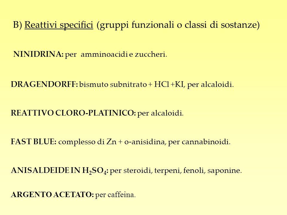B) Reattivi specifici (gruppi funzionali o classi di sostanze)