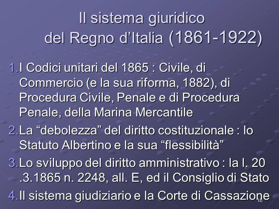 Il sistema giuridico del Regno d'Italia (1861-1922)