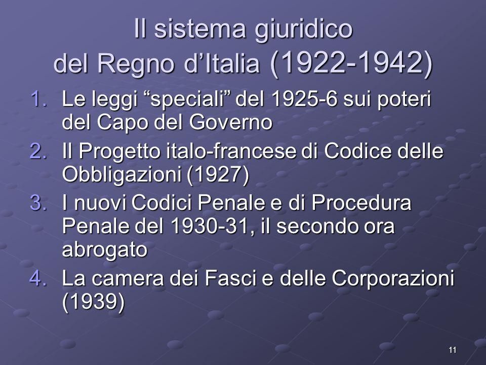 Il sistema giuridico del Regno d'Italia (1922-1942)