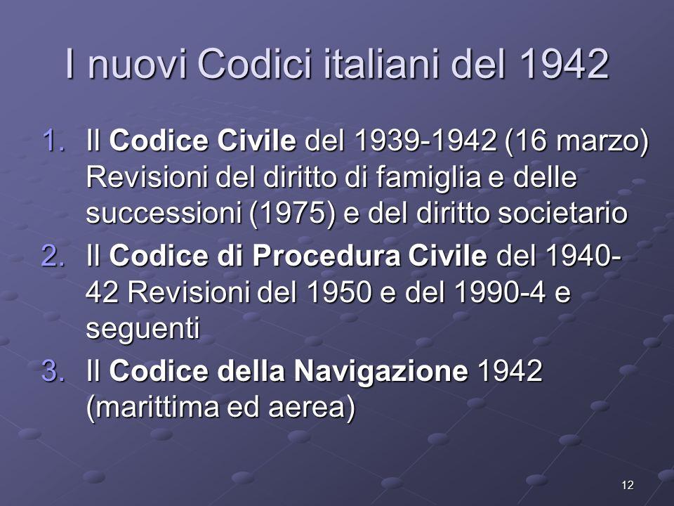 I nuovi Codici italiani del 1942
